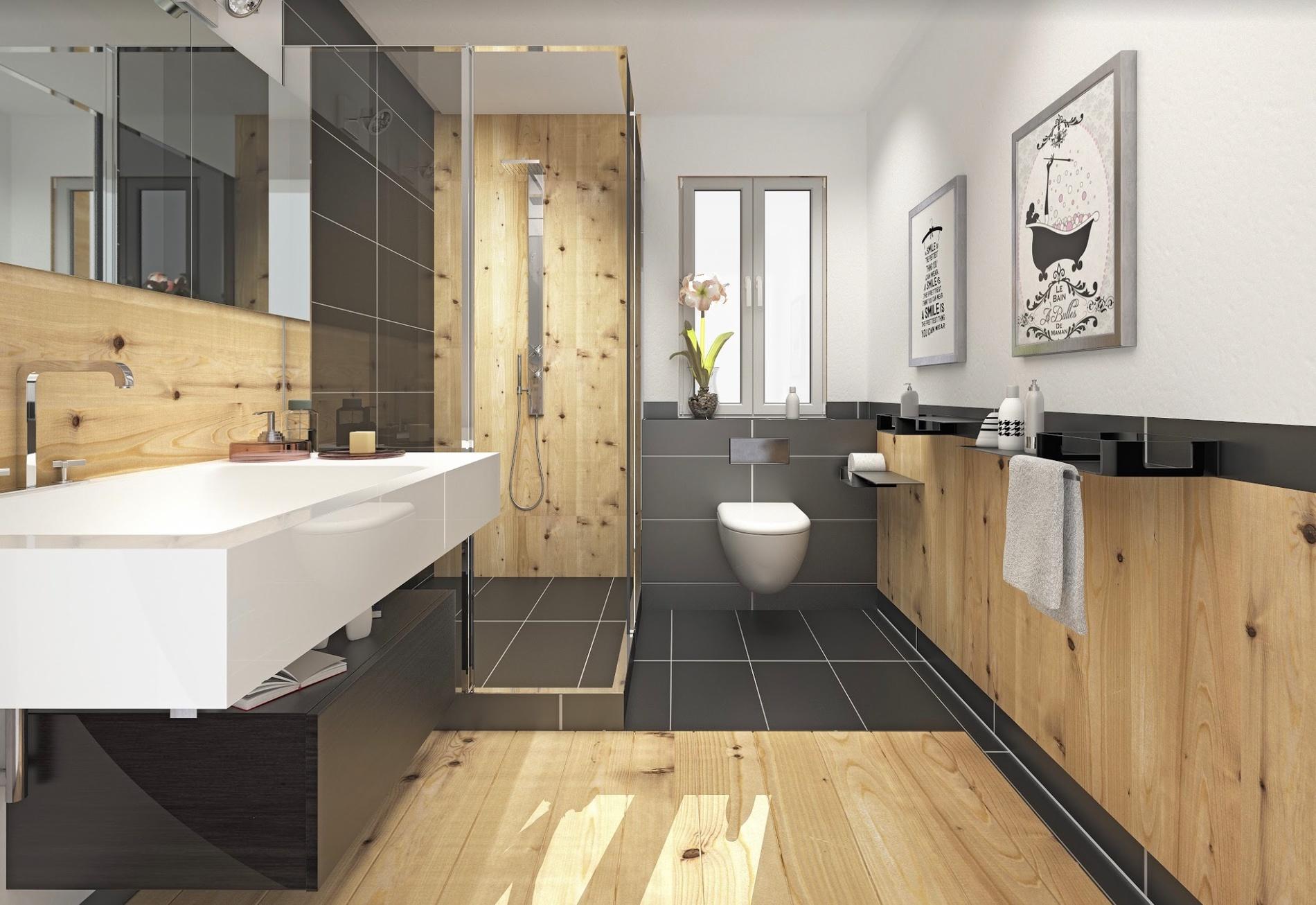 Une salle de bain en bois