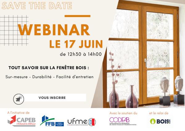"""Participez au webinar """"Tout savoir sur la fenêtre bois"""" organisé par le CNDB, le 17 juin de 12h30 à 14h !"""