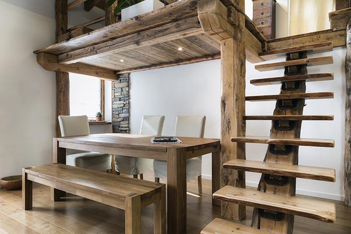 Escalier bois style rustique chic