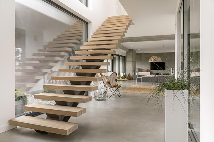 Escalier bois style minimaliste