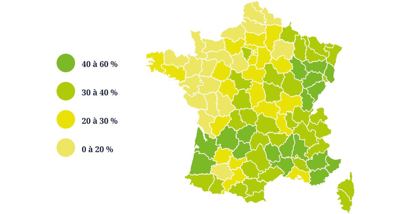 Cartographie du taux de boisement en France
