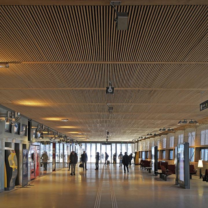 La Gare de Belfort-Montbéliard et ses plafonds en bois.