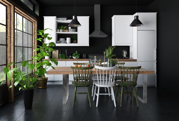 Cuisine en bois blanc avec plan de travail bois